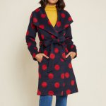 Intelligent Around Town Belted Coat in Navy and Red Polka Dots