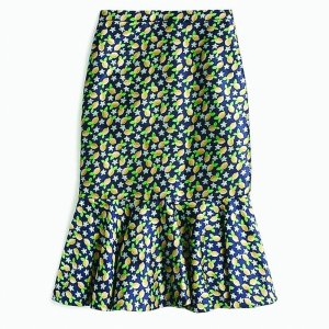 J Crew Trumpet skirt in lemon jacquard