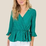 Stacy Polk Dot Peplum Green Blouse