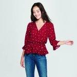 Women's Polka Dot Burgundy Wrap Top Target