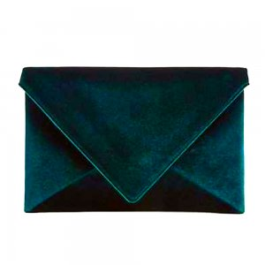 Ann Taylor Green Velvet Envelope Clutch