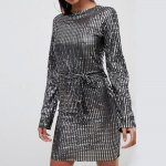 Club L tie front metallic long sleeve dress from ASOS