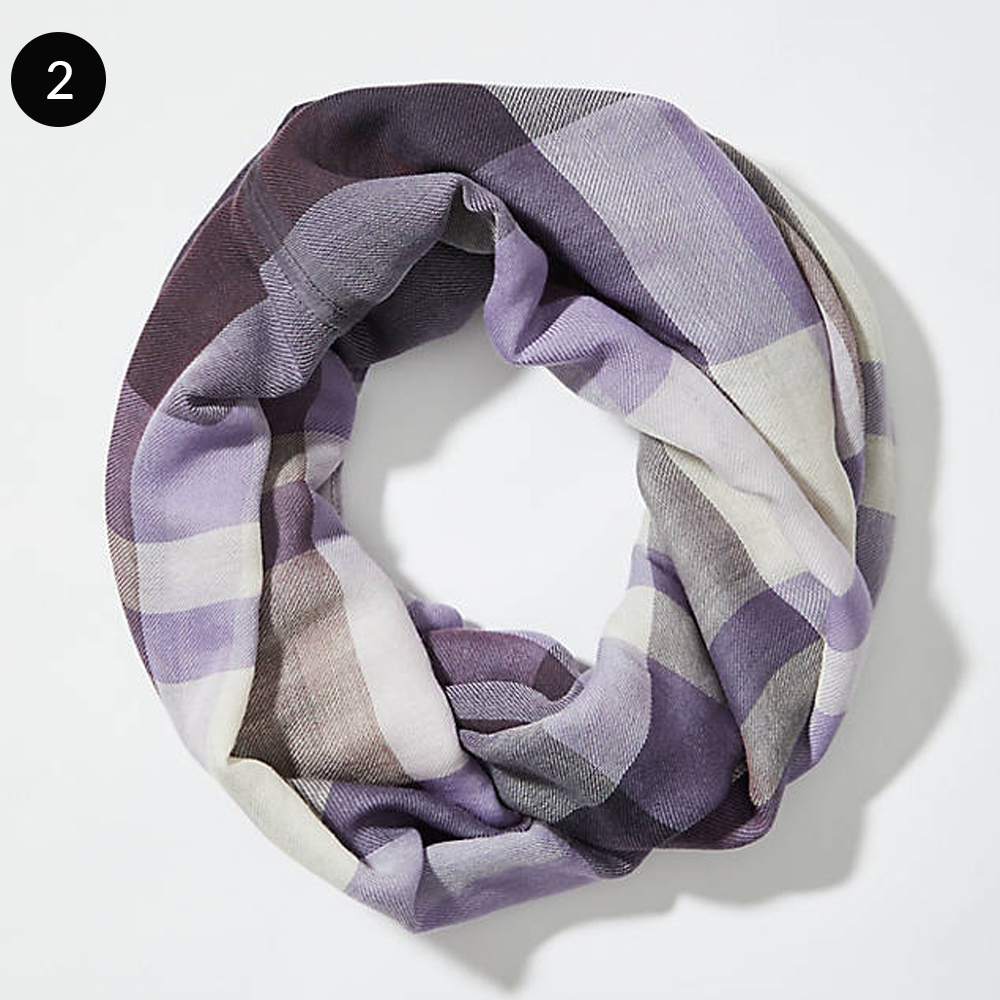 LOFT Plaid Infinity Scarf in Soothing Lavender