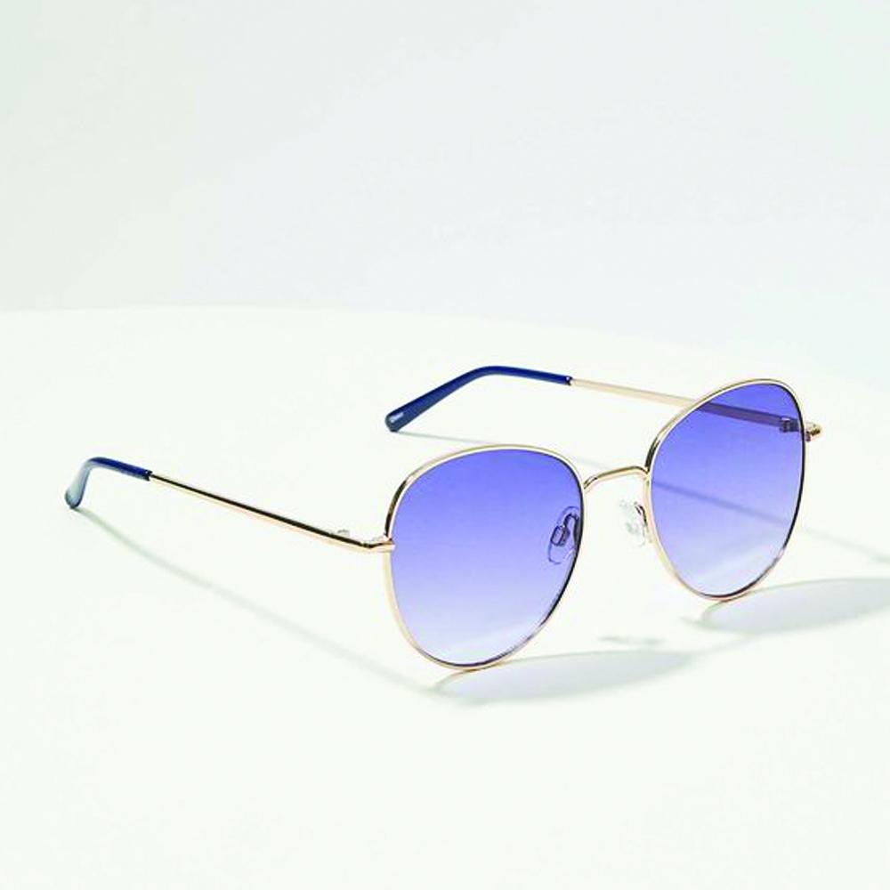 LOFT Round Metallic Sunglasses in Nautical Navy