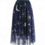 Myth Of Stars Mesh Tulle Midi Skirt in Navy from Chicwish