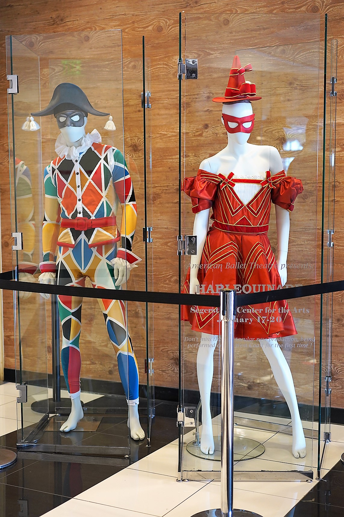 American Ballet Theatre's Harlequinade Ballet Costumes Displayed outside Bloomingdale's South Coast Plaza entrance