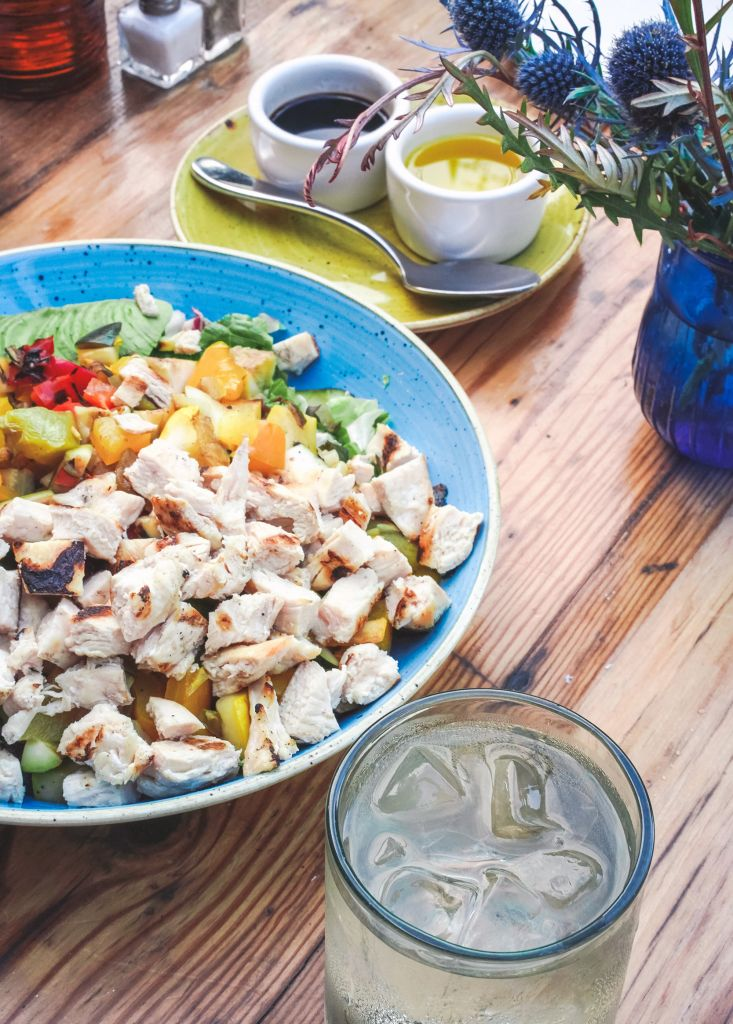 Chopped Grilled Vegetable Salad with added chicken, substitute olive oil and balsamic for dressing on the side