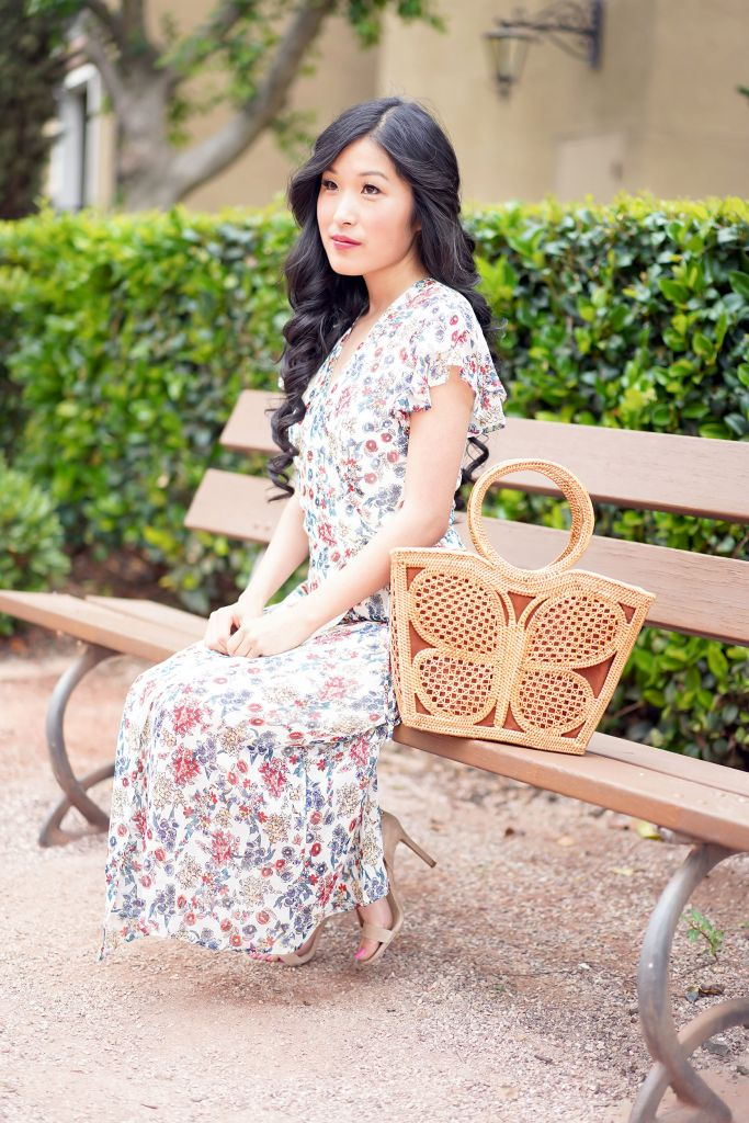 Francesca's Sylvia Floral Midi Dress and Kupu Butterfly Tote