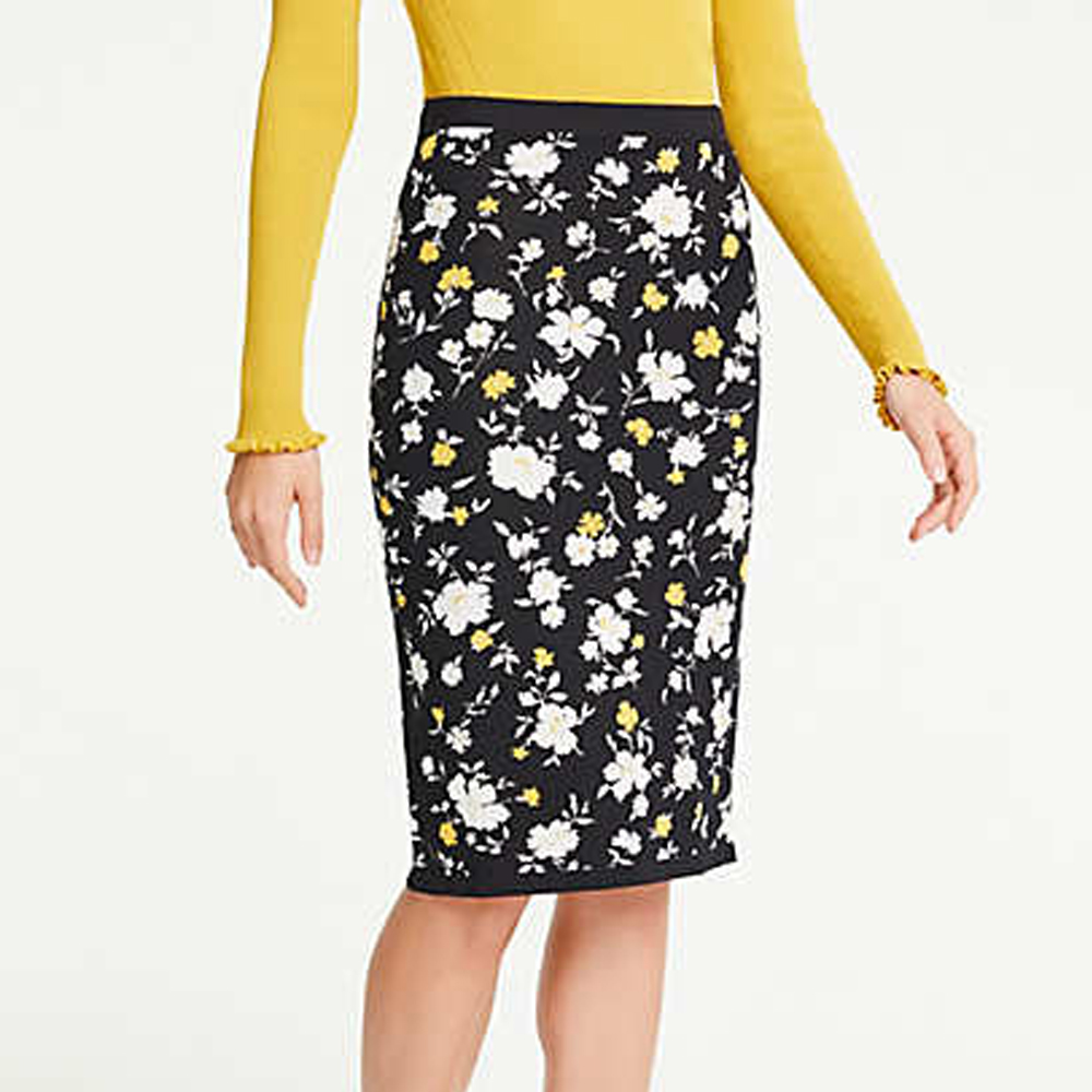 Ann Taylor Petite Floral Sweater Pencil Skirt