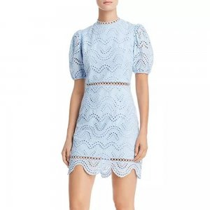 Aqua Light Blue Puff-Sleeve Eyelet Dress