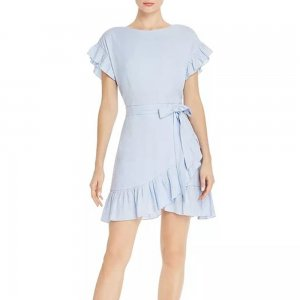 Aqua Light Blue Ruffle-Trim Tie-Waist Dress