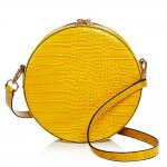 Aqua Mustard Yellow Medium Circle Croc-Embossed Crossbody