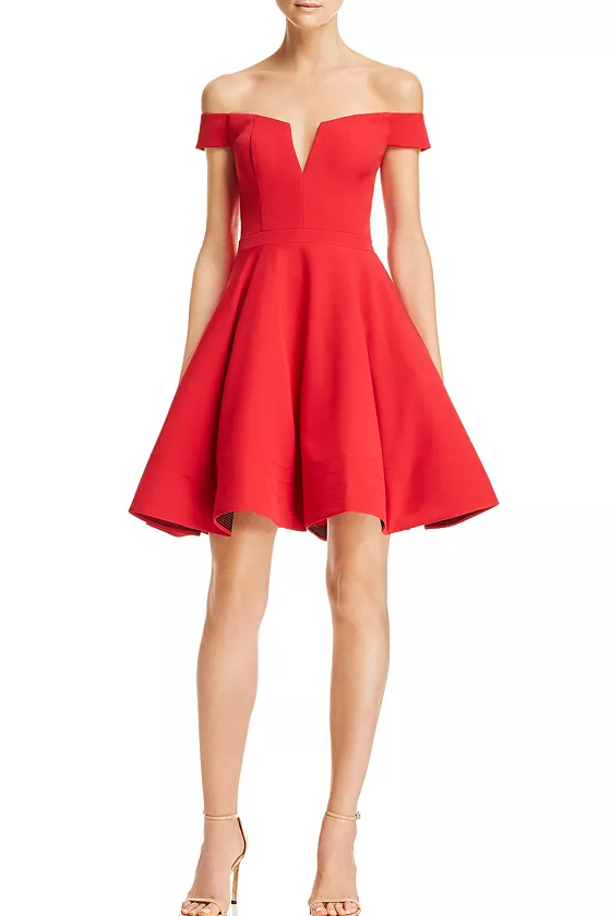 Aqua Off-the-Shoulder Scuba Red Dress