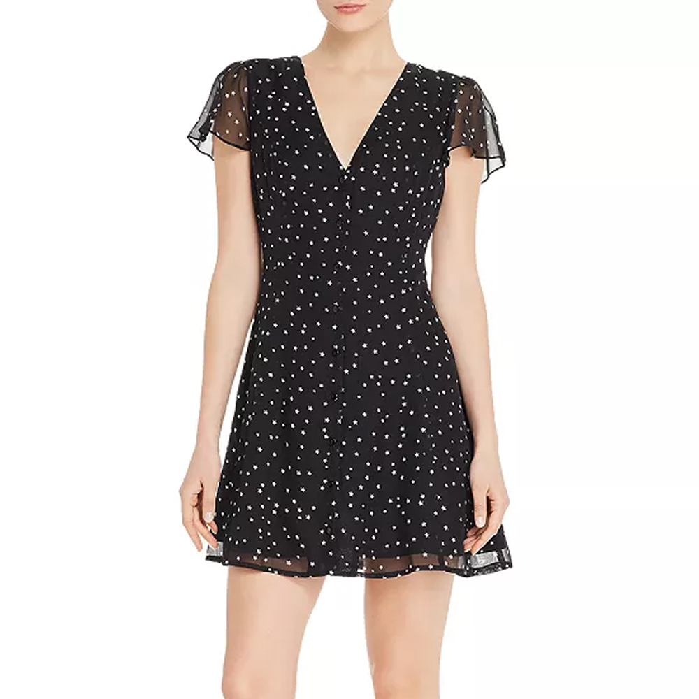 Aqua Star-Print Button-Front Dress