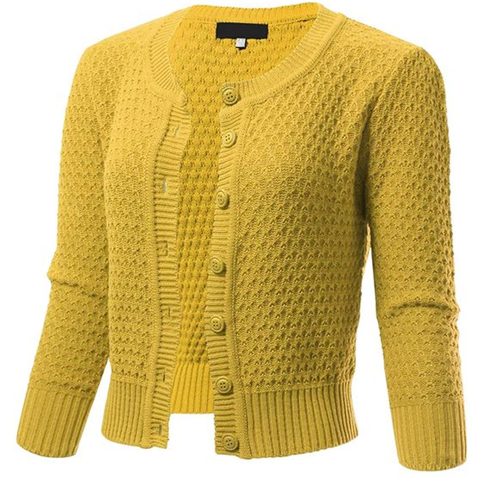 ARC Studio Button Down 3/4 Sleeve Cropped Knit Cardigan in Baby Yellow