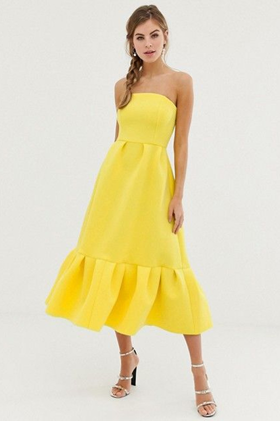 ASOS DESIGN Bandeau Midi Dress with Ruffle Pep Hem in Yellow