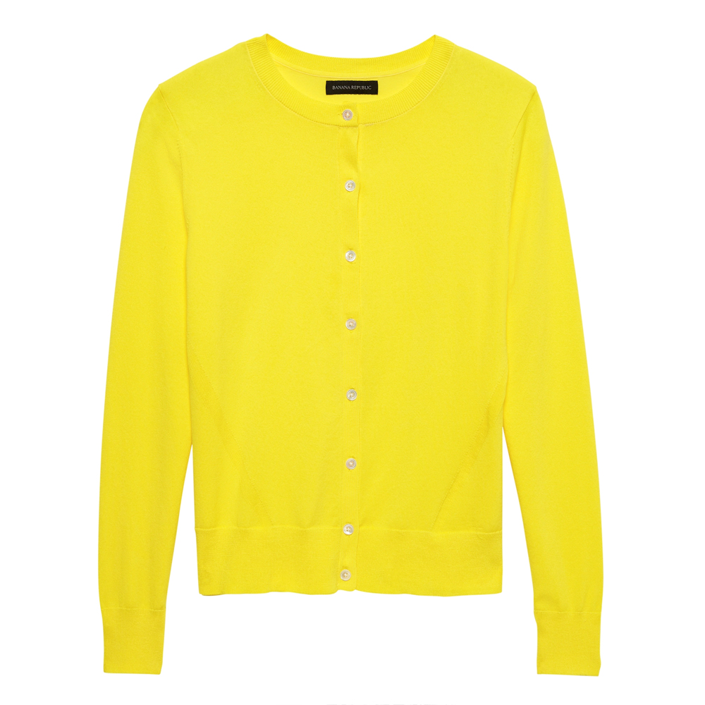 Banana Republic Stretch-Cotton Cardigan Sweater in Sunny Yellow