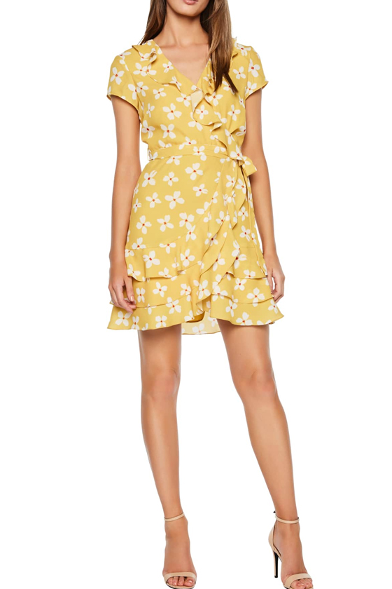 Bardot Abstract Daisy Faux Wrap Dress in Mustard Daisy