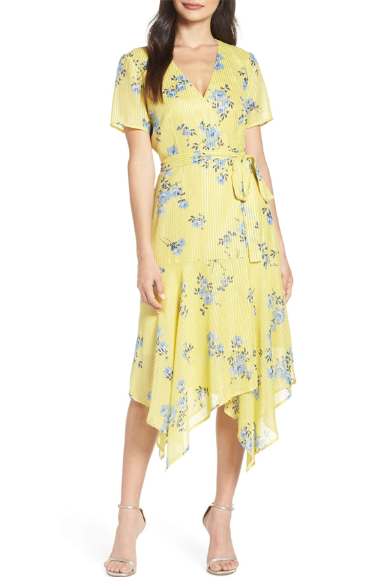 Charles Henry Handkerchief Hem Wrap Dress