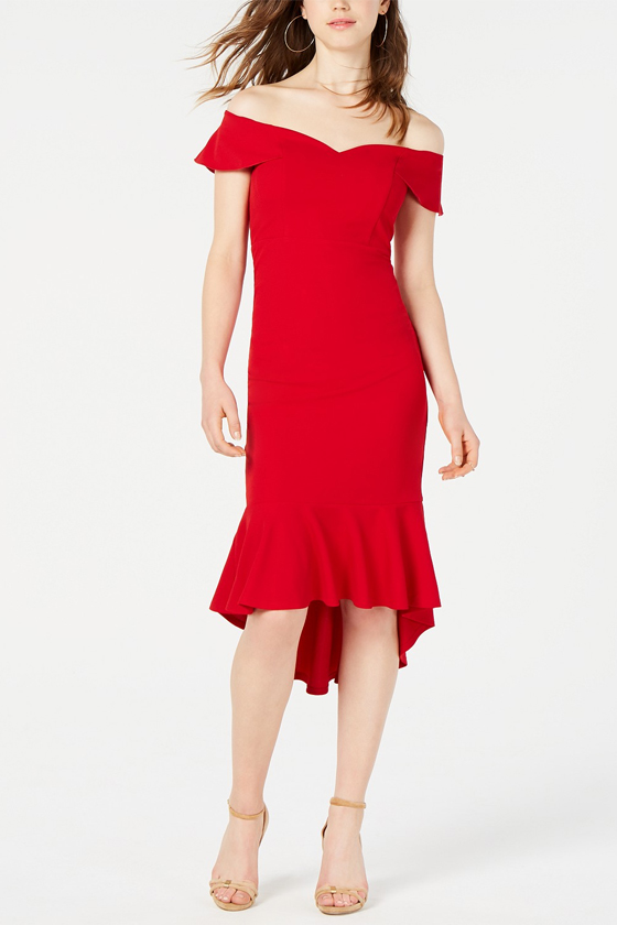 Emerald Sundae Off The Shoulder Red Dress