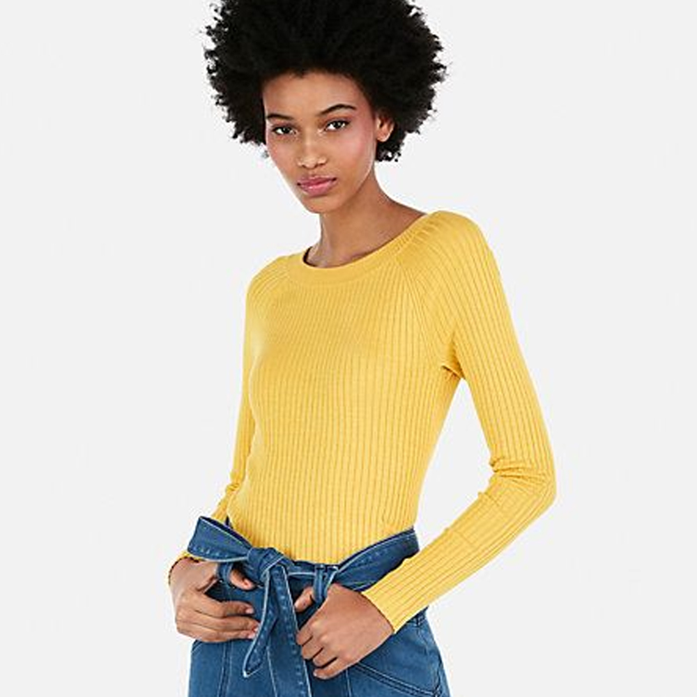 Express Ribbed Bateau Neck Sweater in Siren Yellow