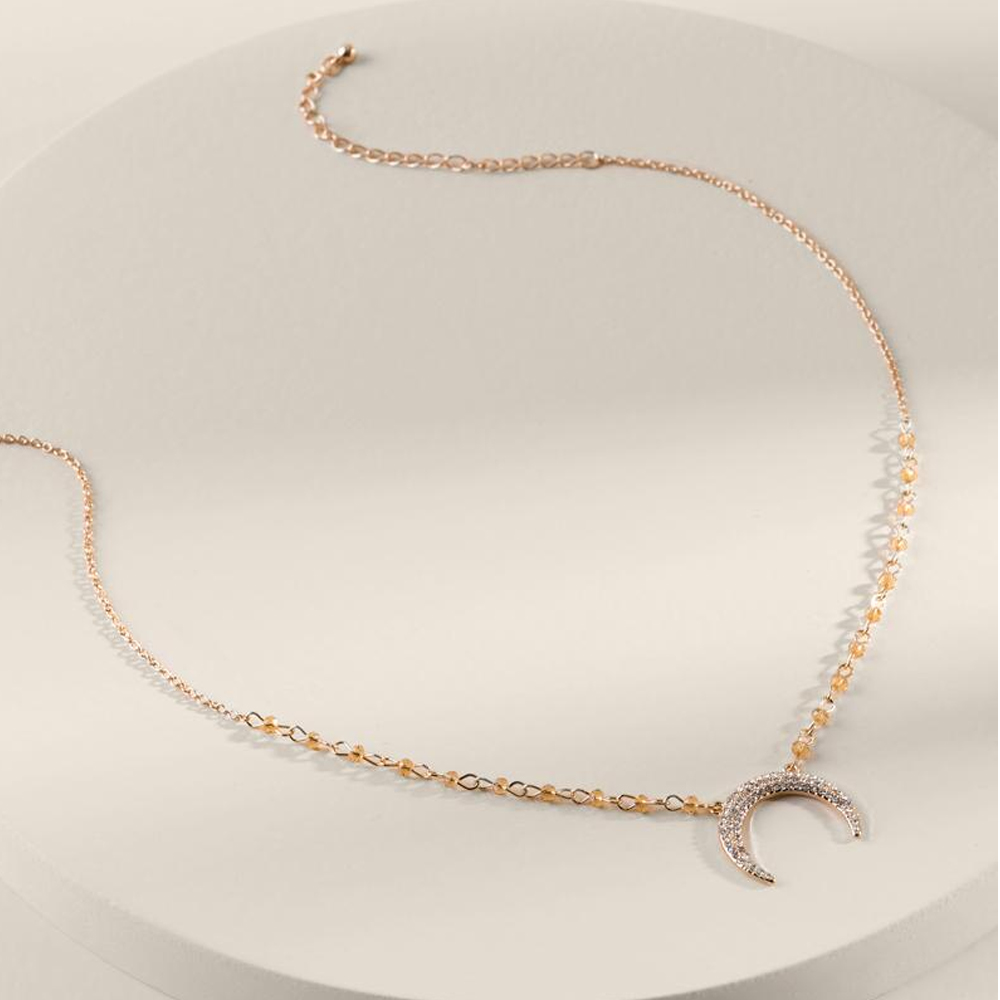 Lidia Pave Bullhorn Necklace