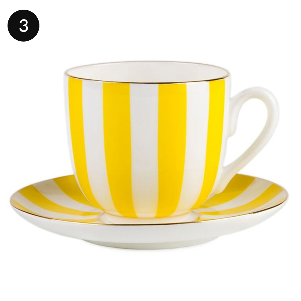 Imperial Porcelain Juicy Lemon Two-Piece Bone China Striped Teacup & Saucer Set in Yellow