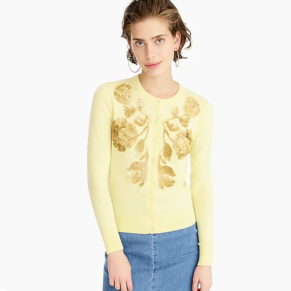 J. Crew Sequin Floral Embroidered Cotton Jackie Cardigan Sweater