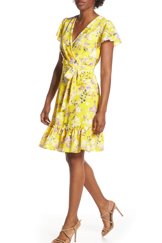 Julia Jordan Floral Wrap Dress in Yellow Multi