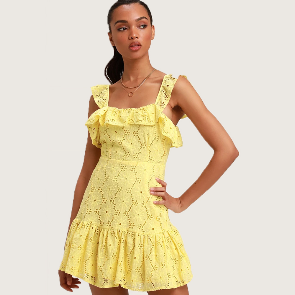 Lulu's Biscay Yellow Ruffled Eyelet Lace Sleeveless Dress