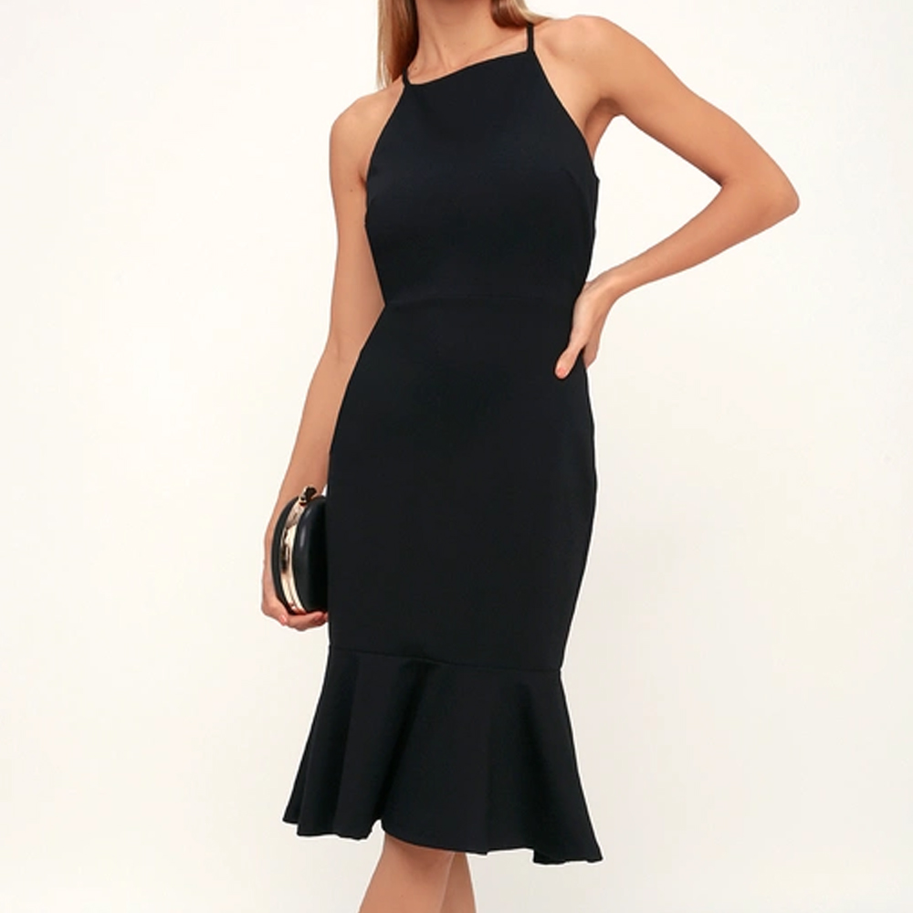 Lulu's This Could Be Love Black Bodycon Midi Dress