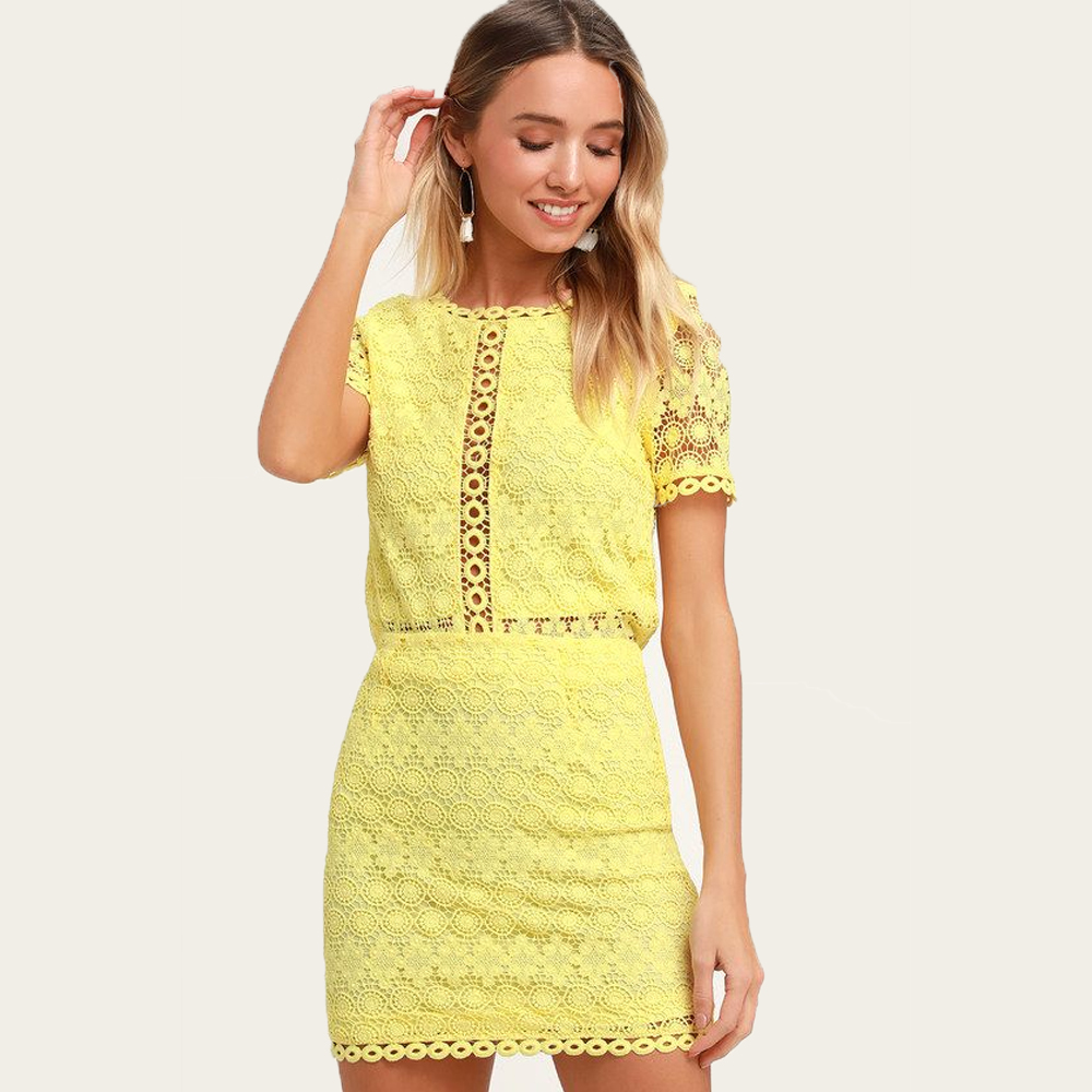 Lulu's Cuter Than You Yellow Crochet Lace Mini Skirt