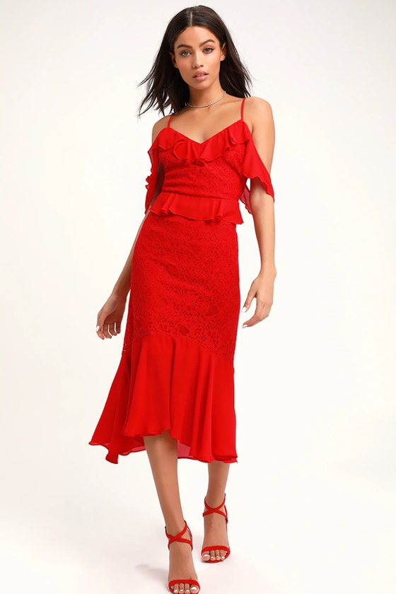 Lulu's Dance of Romance Red Cold-Shoulder Dress
