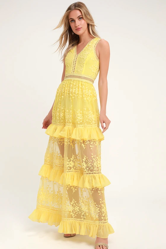 Lulus Garden Dreams Yellow Lace Tiered Maxi Dress
