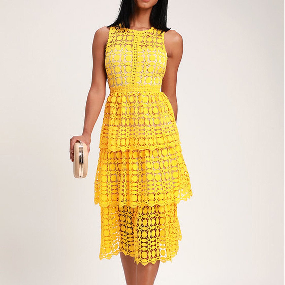 Lulu's Larissa Yellow Crochet Lace Sleeveless Midi Dress