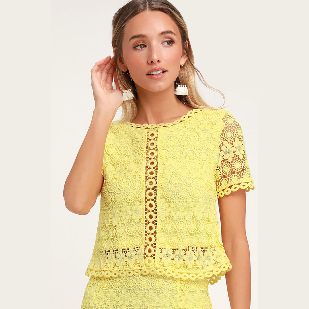Lulu's Sweet Style Yellow Crochet Lace Crop Top