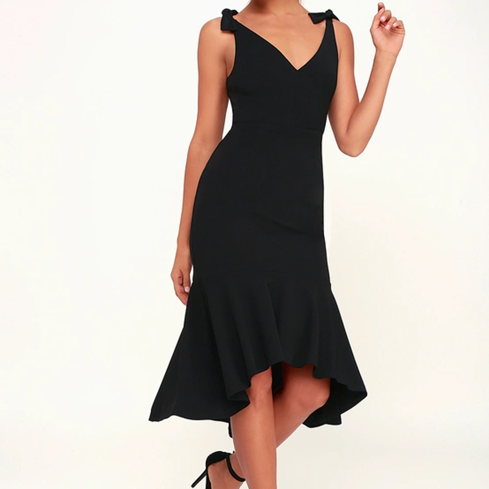 Lulu's Want You To Want Me Black Trumpet Hem Bodycon Midi Dress