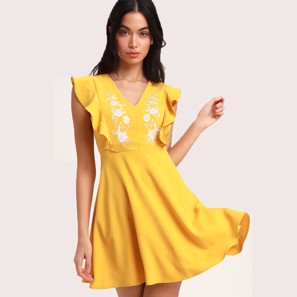 Lulu's New Adventure Yellow Embroidered Skater Dress
