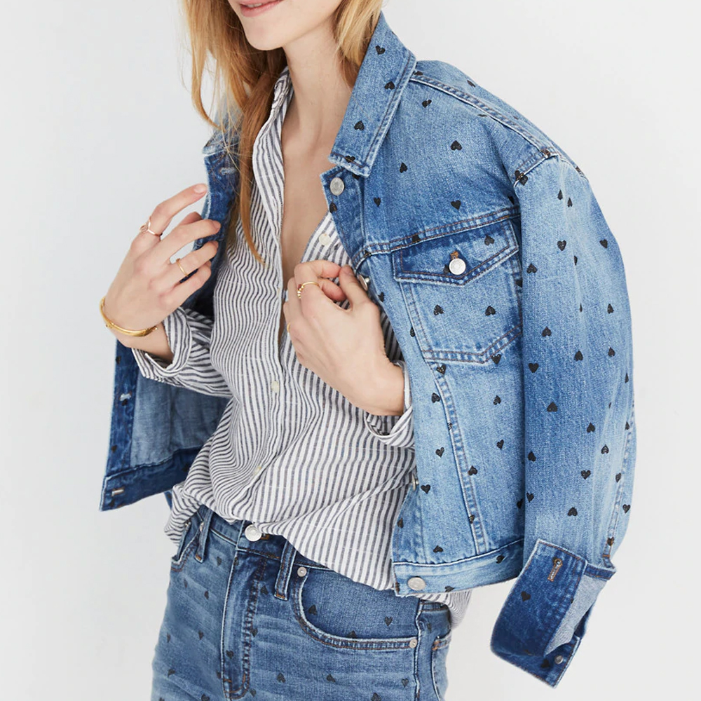 Madewell Boxy-Crop Jean Jacket: Heart Print Edition