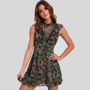 Moon River Dawn Forest Green Floral Print Ruffled Mini Dress