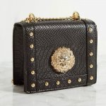Pretty Little Thing Black Lion Stud Chain Cross Body Bag