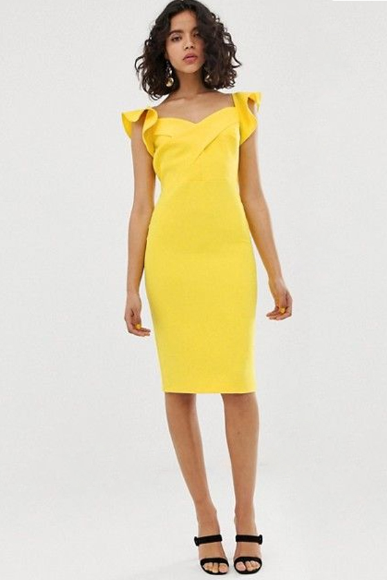 River Island Bodycon Dress in Bright Yellow