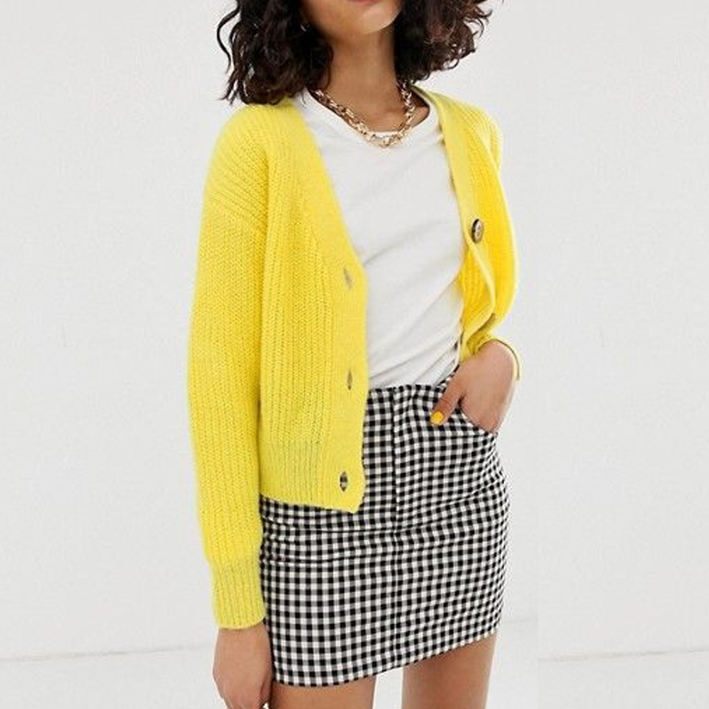 River Island Cardigan with Jeweled Buttons in Yellow