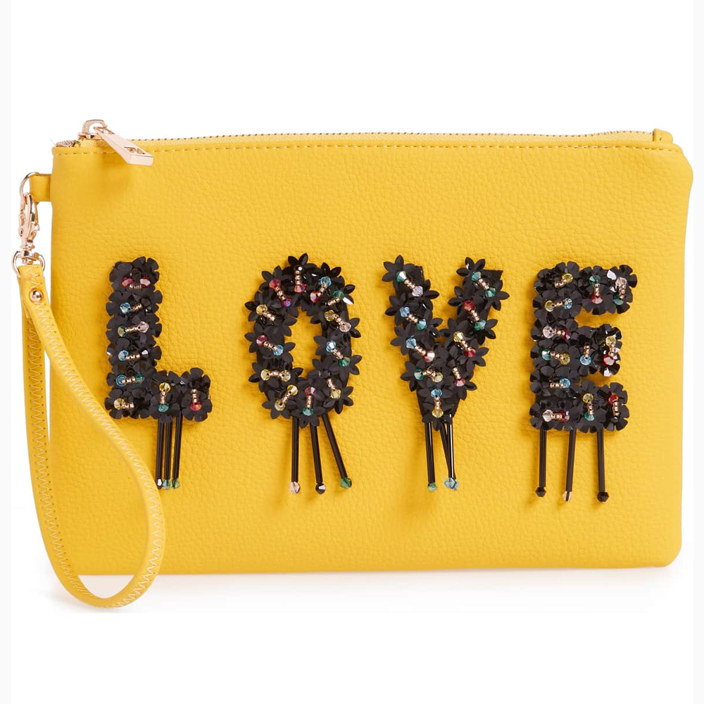 Sondra Roberts Love Embellished Faux Leather Wristlet