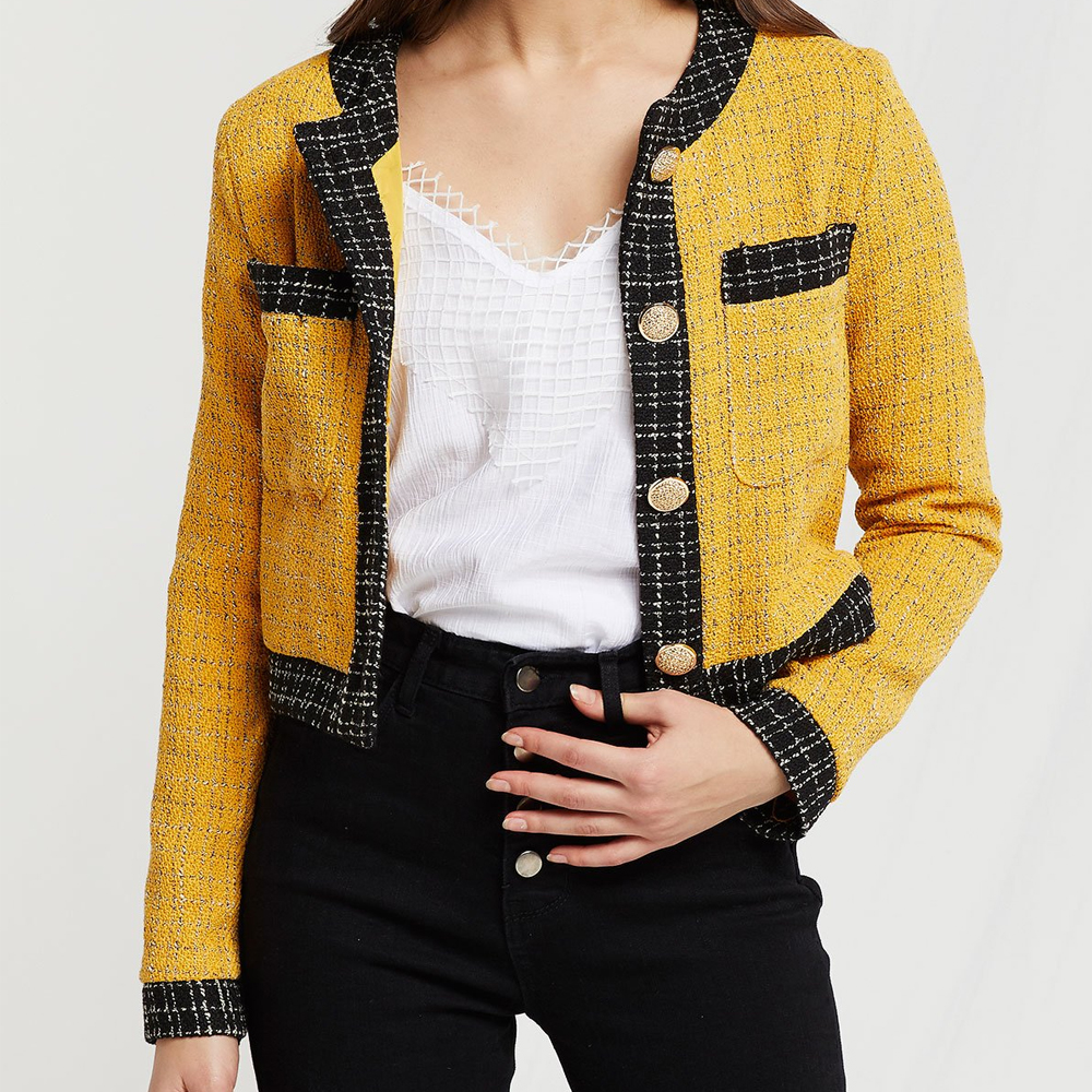 Storets Mustard Lydia Contrast Trim Jacket in Tweed