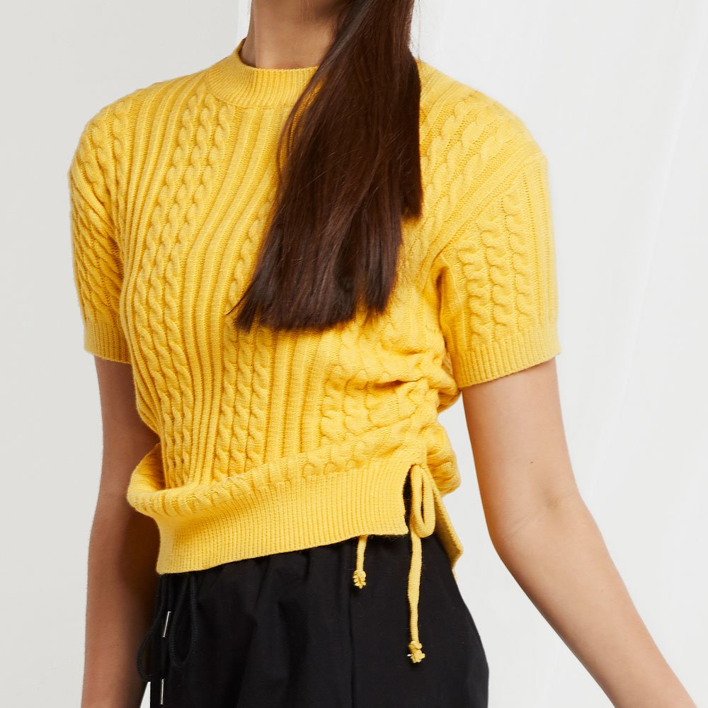 Storets Lynn Ruched Sides Ribbed Knit Top in Mustard Yellow