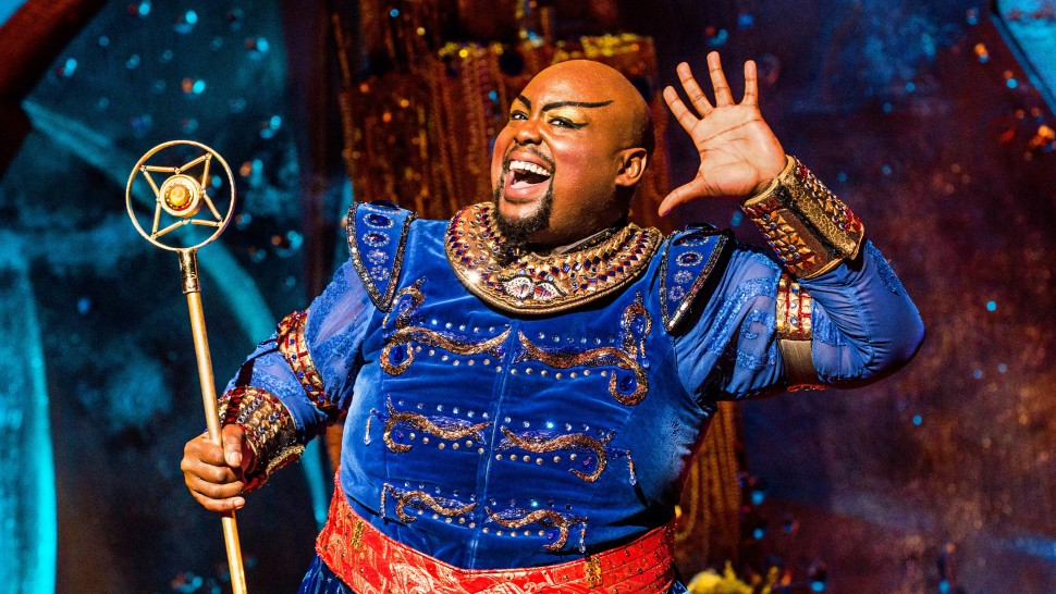 "Major Attaway (Genie) n Segerstrom's production of ""Aladdin,"" which runs in Costa Mesa through March 23. (Photo by Matthew Murphy)"