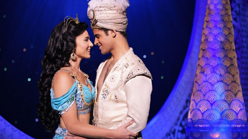 "Lissa deGuzman (Jasmine) and Clinton Greenspan (Aladdin) in Segerstrom's production of ""Aladdin,"" which runs in Costa Mesa through March 23. (Photo by Deen van Meer)"