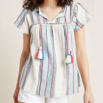 Anthropologie dRA Lindsay Peasant Top in Blue