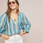 Anthropologie Brenda Peasant Blue Top